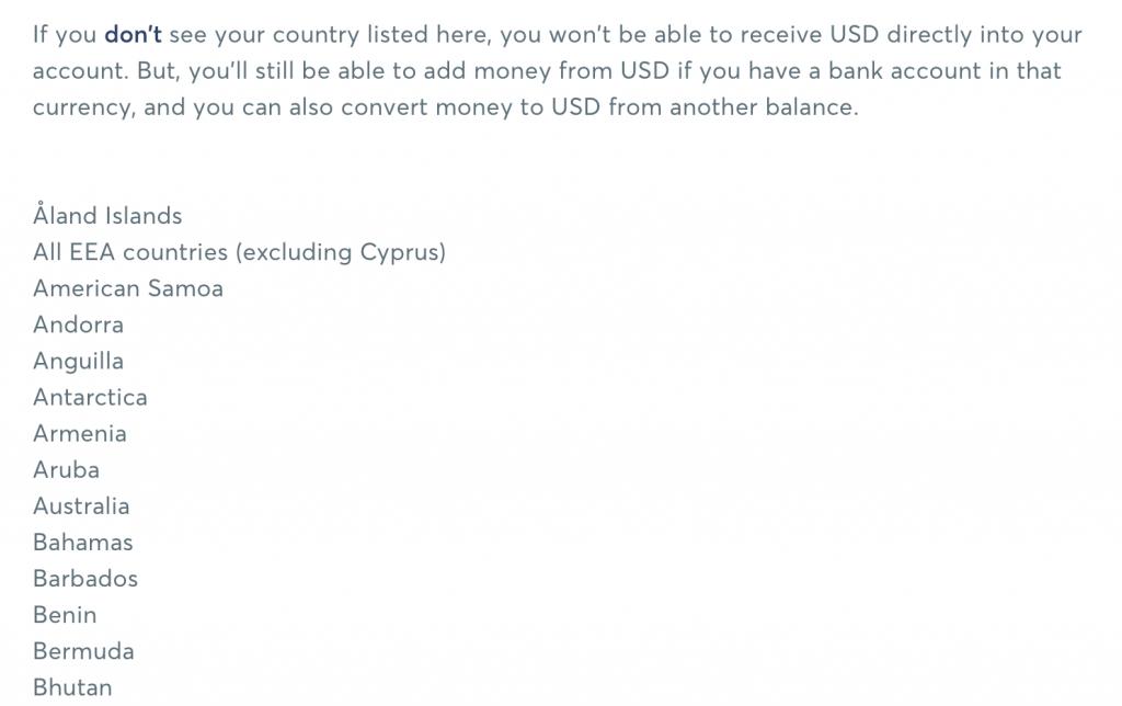TransferWise dolar hesap bilgisi edinebilecek ülkeler listesi