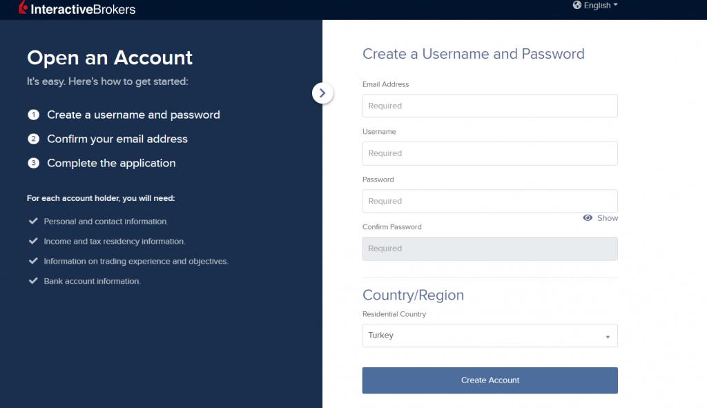 IBKR kullanıcı adı ve şifre oluşturulması