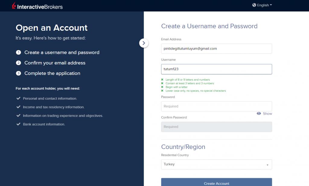 IBKR kullanıcı adı ve şifre oluşturulması (2)