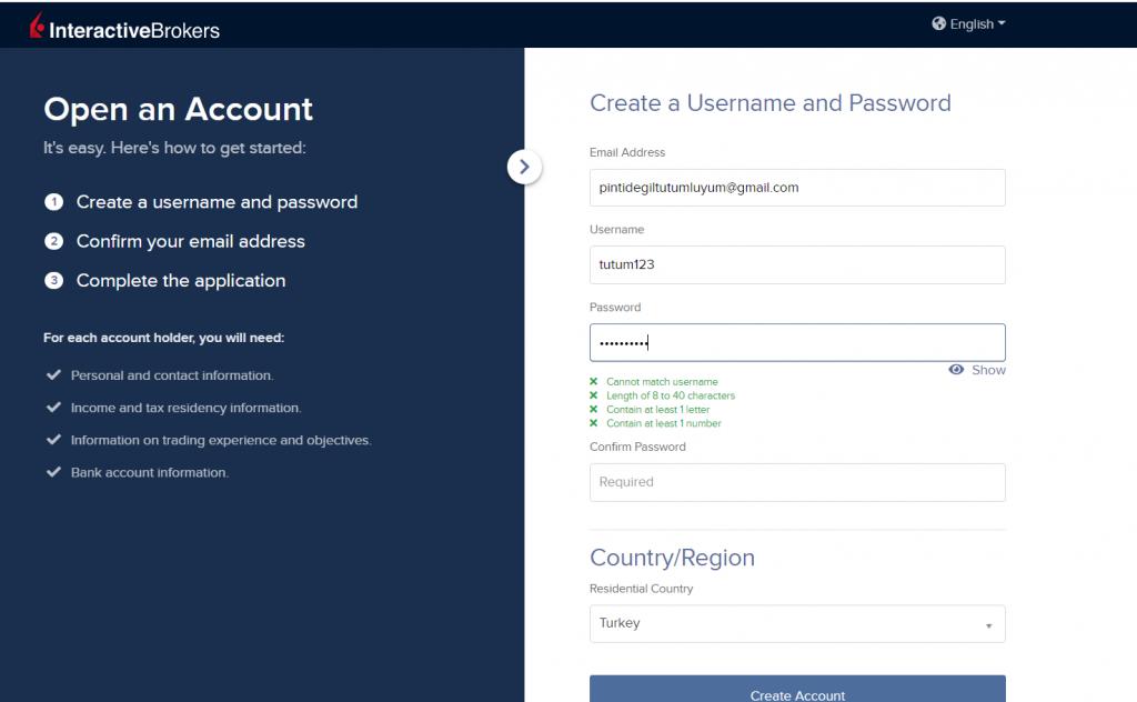 IBKR kullanıcı adı ve şifre oluşturulması (3)