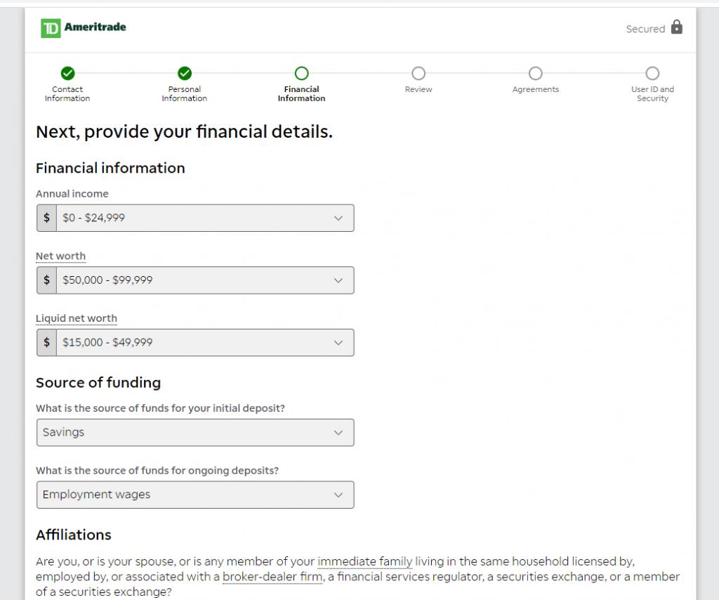 Hesap açılışı - finansal bilgiler