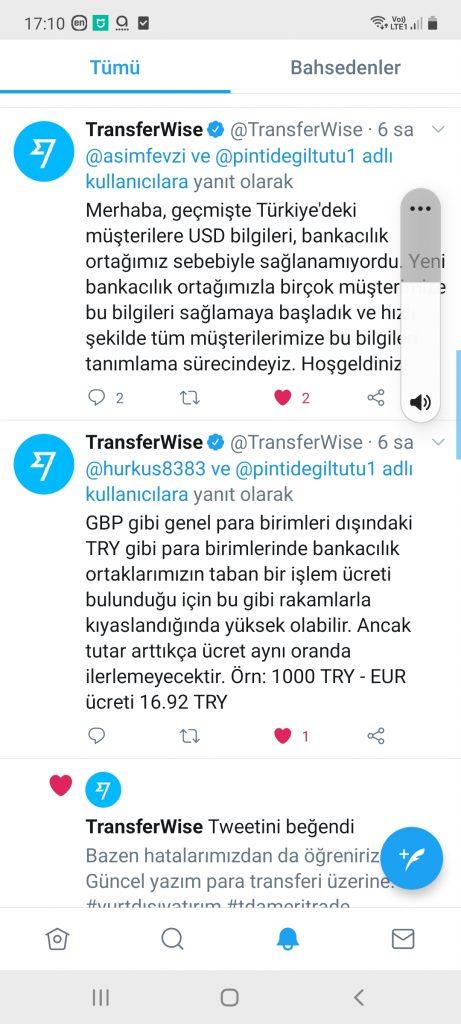 TransferWise'ın twitter açıklaması